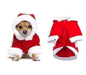 5679 Déguisement de PERE NOËL avec capuche pour chiens de petite/moyenne taille - S