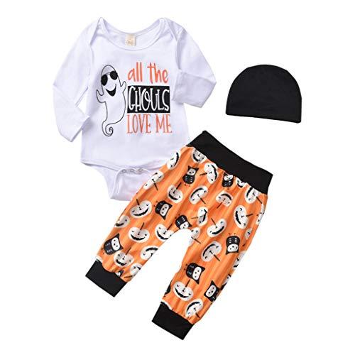 Felicove Kleinkind Baby Kleidung Set 3pcs Outfits Set Halloween Lässige Brief drucken Strampler Kürbis Drucken Hose + Hut