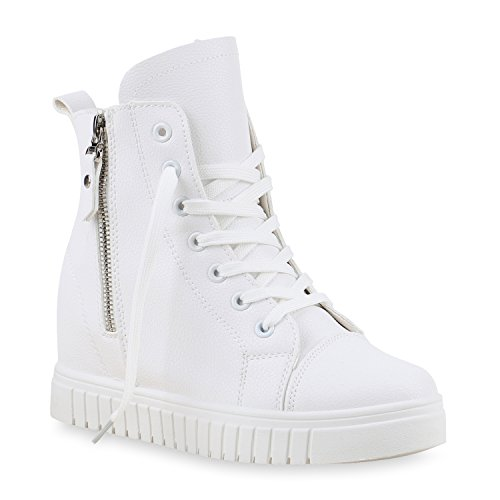 Damen Sneakers Keilabsatz Sneaker Wedges High Top Zipper Schuhe Weiß
