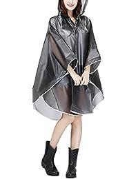 Jetai Femmes Poncho de pluie Transparent Imperméable Moto Imperméable EVA Veste de pluie Imperméable Trench-Coat Parka Imperméable Imperméable Raincape