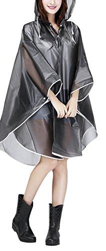 Jetai poncho impermeabile trasparente da donna mantella leggera e portatile per la pioggia giacca antivento e impermeabile EVA cappotto antipioggia