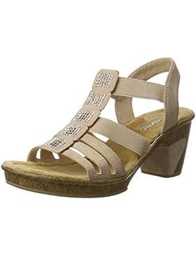 Rieker Damen 69761 Offene Sandalen mit Keilabsatz