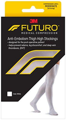 a60640aafaa035 Futuro Anti-Embolism Stockings, Thigh Length, Closed Toe, Medium Height,  White, Moderate Compression (18 mm/H