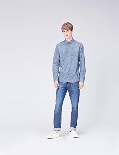 FIND Camicia a Quadretti Slim Fit Uomo Blu (Blue Tile)