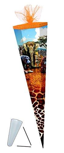 (Unbekannt Schultüte - Safari 85 cm - mit Tüllabschluß - mit / ohne Kunststoff Spitze - Zuckertüte Mädchen Junge Tiere Elefant Zootiere)