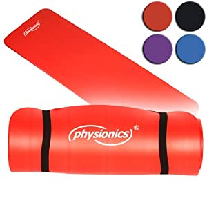 Physionics Pilates Yoga und Gymnastikmatte 180 X 60 X 1.0 Rot, FNMT02-1.0