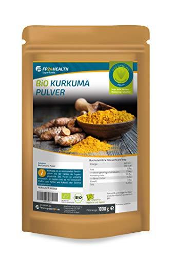 FP24 Health BIO Kurkuma Pulver 1kg - im Zippbeutel - Curcuma gemahlen mit Curcumin - Kurkumapulver aus 100% Bio-Anbau - Top Qualität