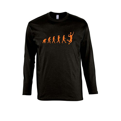 EVOLUTION - Volleyball Sport - Herren Langarm Longsleeve T-Shirt S-XXL , Deep black - orange , XL (Langarm-tshirt-volleyball)