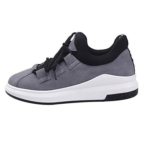 Shenn Femmes Occasionnels Wedges Chaussures de lacet sport confortables ont en daim Baskets mode Gris