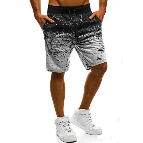 Sport Shorts Herren Sommer Strand Sea Surfen Kurze Hose Boxing Badeshorts Bermuda Running Fitness Gym Jogging Lightweight Training Shorts Baumwolle Qmber unordentliche Blumen Verlaufshose(Gray,3XL) -