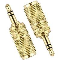 Cuffia Adattatori, VANDESAIL® Convertitore Audio Stereo 3.5mm Maschio e Femmina Jack Placcato Oro Spina (180 ° -2 pacchetto, Oro)