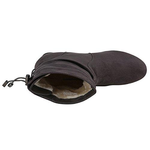 Stiefelparadies Damen Leicht Gefütterte Stiefel Schlupfstiefel Wildleder-Optik Stiefeletten Metallic Wedges Boots Keilabsatz Schuhe Flandell Grau Metallic