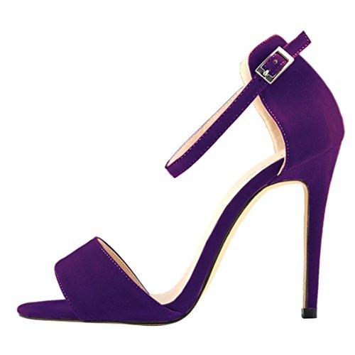 Oasap Damen Glitzernde Offen Knöchelriemen Stiletto High Heels Purple