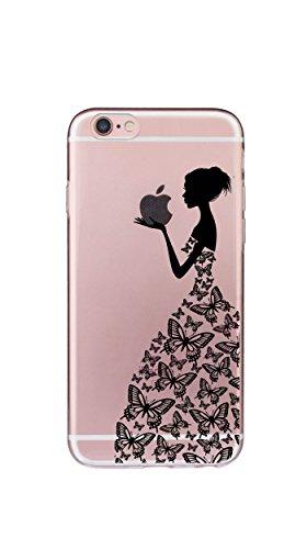Neue Modelle TPU Silikon Schutz Handy Hülle Case Tasche Etui Bumper für Apple iPhone 6 6S - Henna Series Apple Butterfly Girl (Neue Jungen-licht)