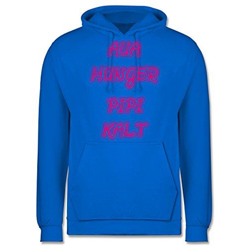 Statement Shirts - Aua, Hunger, Pipi, Kalt - Männer Premium Kapuzenpullover / Hoodie Himmelblau