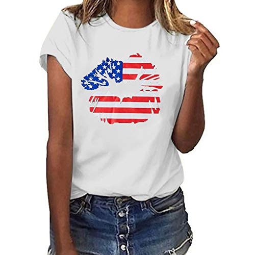 Lazzboy T Shirt Women USA Flag Independence Day Lip Print Short Sleeve O Neck Top Ladies Daily Blouse(S(8),White-Stars)