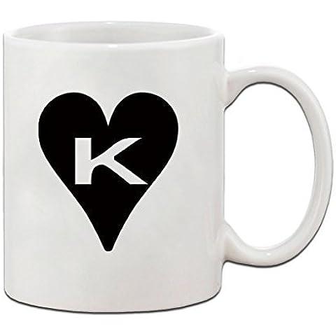 K a forma di cuore e lettera iniziale Monogram Harley, lettera K, con Coffe Cup-Tazza in ceramica, 325 ml di Speedy Pro - Monogram Cuore