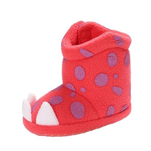 Baby Schuhe, AMEIDD Baby Jungen Mädchen Winter Warm Weiche Sole Schnee Stiefel Weiche Krippenschuhe Kleinkind Säugling Hausschuhe für 0-6 6-12 12-18 Monate (11cm/0-6 M, rot)