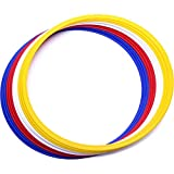 gipfelsport Koordinationsringe Koordinationsreifen im 12er Set in weiß, gelb, rot, blau I Agility Ringe für Das Training im Sport Fußball, Leichtathletik oder Hunde I Fitnessreifen mit Tasche