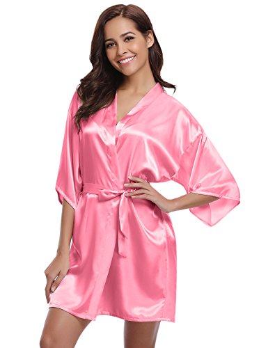 Aibrou Damen Morgenmantel glatte Satin Nachtwäsche angenehmer Bademantel Kimono Negligee Seidenrobe locker weicher Schlafanzug Glanz Look kurz (L, Wassermelone-rot)