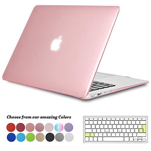 TECOOL MacBook Air 13 Hülle, Slim Plastik Hartschale Schale Cover Zubehör mit EU Transparente Tastaturschutz Schutzhülle für Apple 2010-2017 MacBook Air 13.3 Zoll Modell:A1466 / A1369 - Kristall Rosa (Macbook Air 13 Hülle (slim-version)