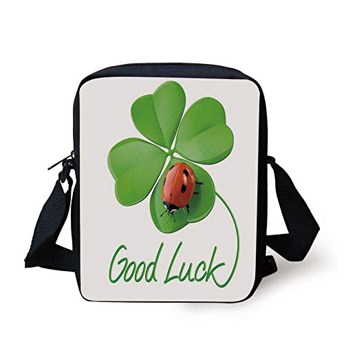 ZKHTO Going Away Party Decorations,Lucky Symbols Four Leaf Clover with Ladybug Irish Charm,Green Red Black Print Kids Crossbody Messenger Bag Purse