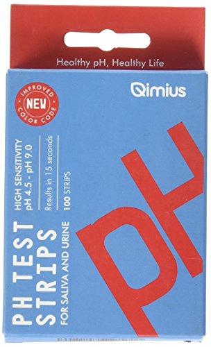 qimius PH Teststreifen (100Ct.) mit 4,5–9,0Serie | Speichel und Urin Teststreifen für PH Level, Ergebnisse in 15Sekunden | ideal für Alkaline Diet Kontrolle