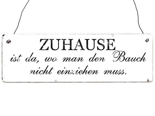 Shabby Vintage Dekoschild Holzschild Türschild ZUHAUSE IST DA, WO MAN DEN BAUCH