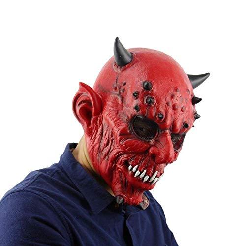QXYAmj Höllennacht Gabel Hörner und Bestien Halloween Bälle Spukhaus Bars Horror Ghost Latex Maske