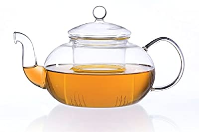 MELINA Théière/Théière en verre 1800ml avec passoire et couvercle en verre en verre borosilicate de qualité, original Aricola®
