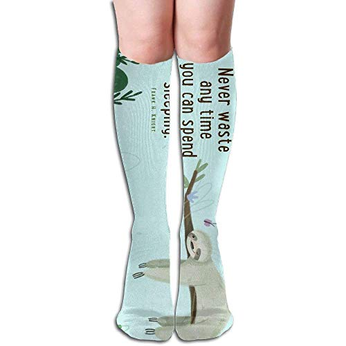 Linkla Danniol Cute Sloth Lying On Tree With Vintage Flowe Women's Fashion Knee High Socks Casual Socks 50cm