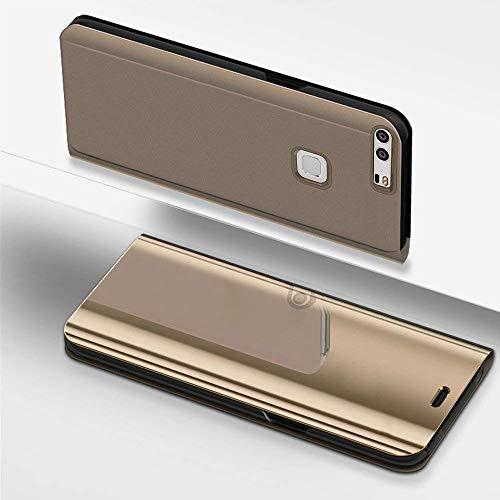 Miagon Spiegel Standing Schutzhülle für Xiaomi Mi 6, Transluzent Aussicht PC-Vorderseite Metall-Galvanotechnik Gold Stilvolle Brieftasche Schale Etui für Xiaomi Mi 6