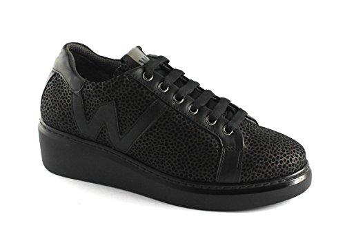 Melluso Walk R25405 Moro Black Chaussures Femme Sport Chaussures Coins Noir