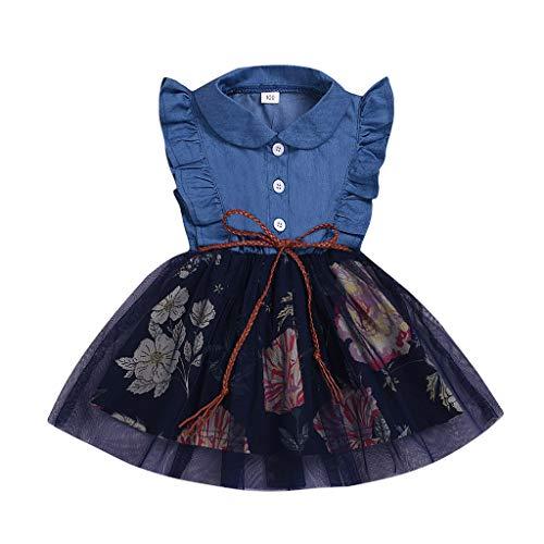 Patifia Kleinkind Baby Mädchen ärmellose Rüschen Blumendruck Tüllrock Tüll Tutu Kleid Spleißen Denim Kleider Mode Minikleid Freizeitkleidung -