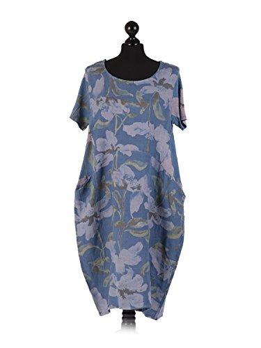 LushStyleUK New Ladies Italian Floral Print Linen Dress Women Lagenlook Dress Plus Sizes (Denim)