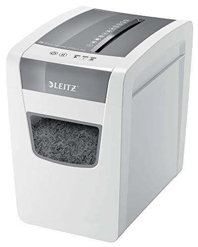 Leitz IQ Slim Home Office Aktenvernichter, Partikelschnitt, Sicherheitsstufe P4, 10 Blatt Kapazität, 23L Abfallbehälter, Schredder, Weiß, 80010000