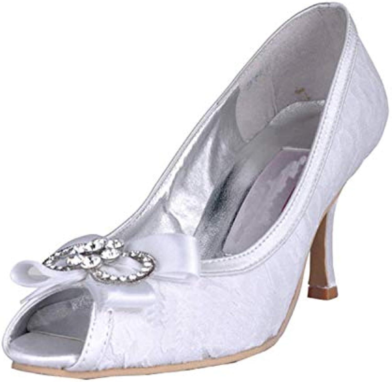 Qiusa donna MZ565 Peep Toe Tacco Alto da Sposa Strass da Sposa in Raso con Strass (Coloreee   Ivory-8cm Heel, Dimensione... | Area di specifica completa  | Uomini/Donne Scarpa