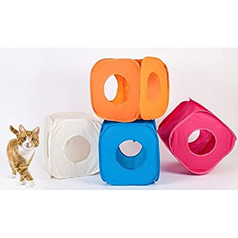 Pop Up Play Pet Cat Kitten Cube Tunnel Strong Box Fun Fold Away Animal Toy (Pink)