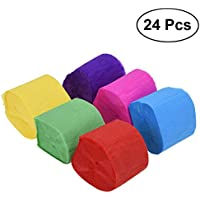 Toyvian Cintas Adhesivas de Papel crepé Coloridas para Decoraciones de Banquetes de cumpleaños 24 Rollos (25 m/Rollo)