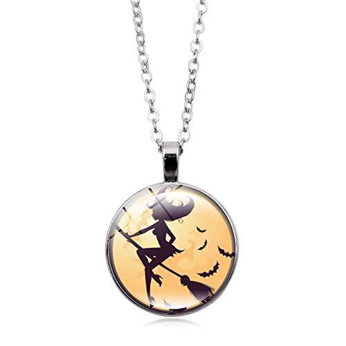 Blisfille Halloween Hexe Zeit Edelstein Halskette Anhänger Halskette Festival Damen Herren Alltag