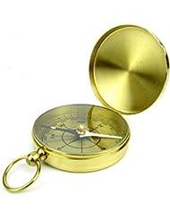 CC Clamshell Metal Compass Compás clásico de cobre Brújula Brújula Compass con anillo de colgante de la cubierta