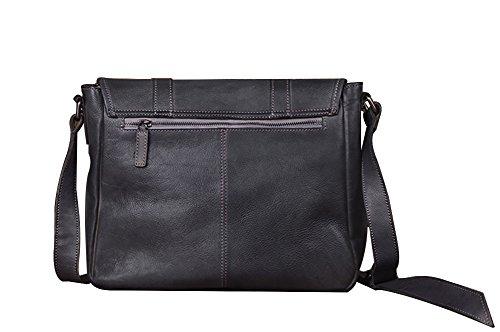 Genda 2Archer Uomini Messenger Bag Pelle Conciata al Vegetale, Borsa a Tracolla, Borsa Campus grigio-blu
