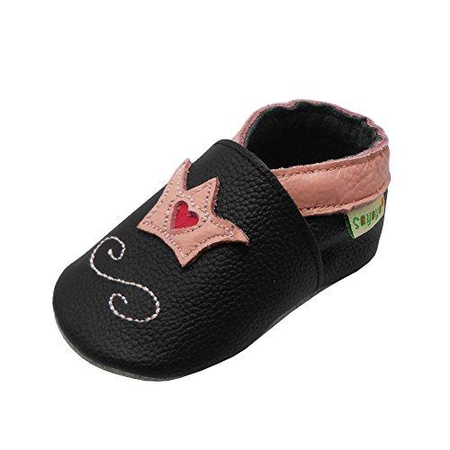 Sayoyo Baby Krone Lauflernschuhe Leder Weiche Sohle Baby Mädchen Baby Jungen Kugelsicherer Krippe Enfants Schuhe (24-36 Monat, Schwarz)