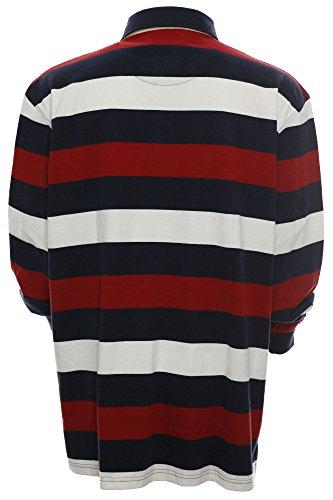 Kitaro Herren Langarm Shirt Poloshirt Streifen -Yachting Competition- Rot