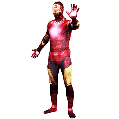 NDHSH Cosplay Avengers Iron Man Kostüm Zentai Jumpsuit Outfit Maskerade Halloween Abschlussball Party Performance Festival ()
