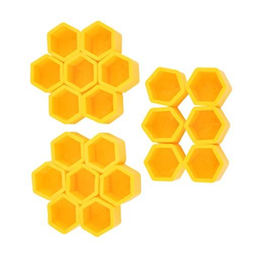 Kongqiabona Jaune 20Pcs / Kit 17/19 / 21mm Silicone Creux Hexagonal Moyeu De Roue Cache-Vis Styling Boulon Écrou Bouchons Pneus Décoration Extérieure (Jaune 19#)