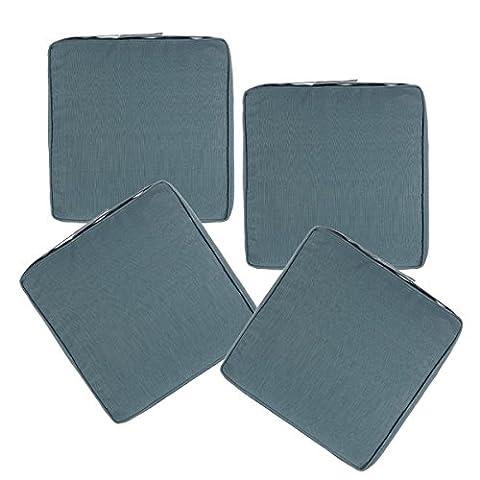 Lot de 4 Galettes de chaises déhoussables - Spécial Extérieur - 40 x 40 cm - Coloris GRIS BLEU