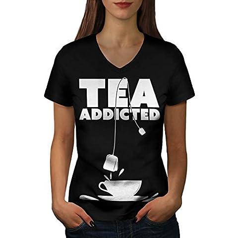 Tea Addict Drink Food Women M V-Neck T-shirt | Wellcoda