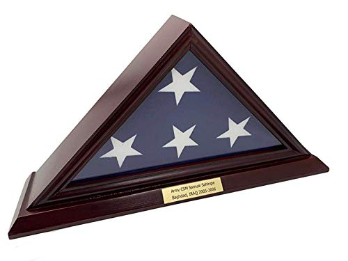 x5 ' Flag Display Case, Shadow Box (Not for Burial Bestattungsfahne), Solid Wood, Cherry Finish, Customize a ()