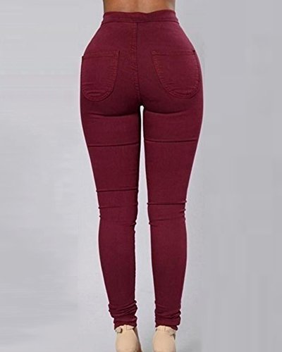 Donna Skinny Jeans a Vita Alta Jeggings Lunghi Matita Pantaloni Leggings Vino Rosso